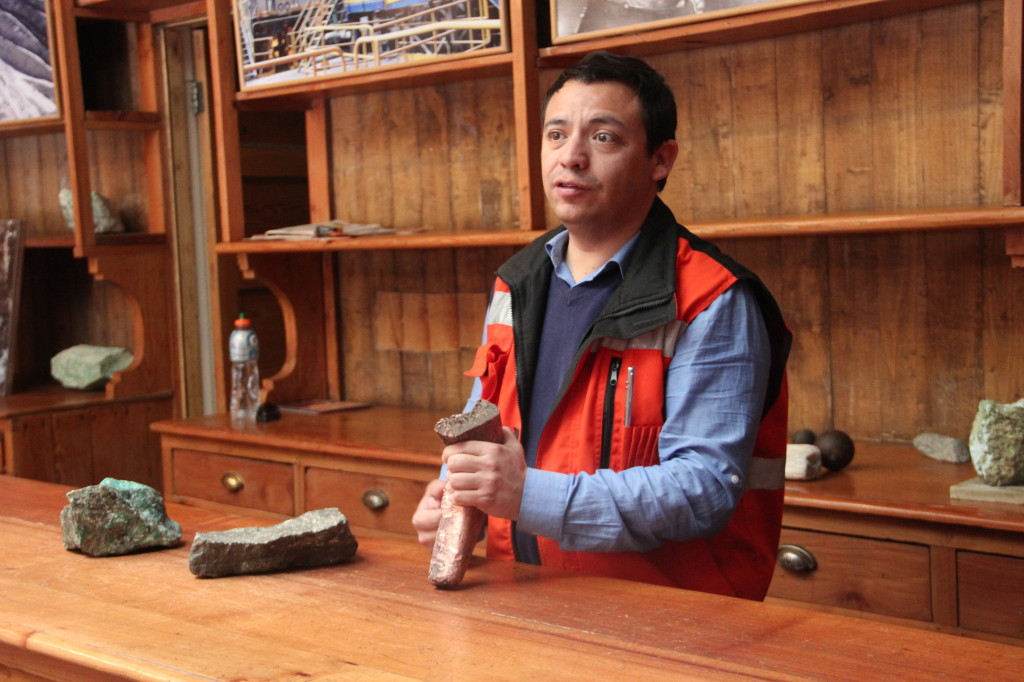 Diego Candia explains the process of copper extraction
